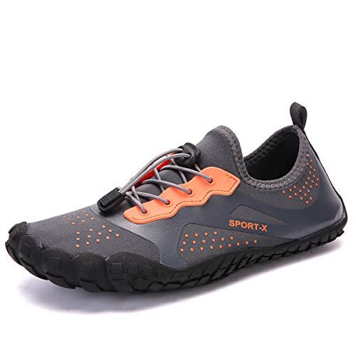 Dreamshow Barfußschuhe Damen Herren Aquaschuhe Sport Outdoor Fitnessschuhe Trekking Schuhe Ultraleicht Rutschfest 36-46, Grau, 40 EU