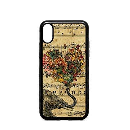 case2do iPhone X 14,7cm Schutzhülle, Zeitung Elefant Aztec Floral Melodie Musik Noten Muster Schwarz Weich Gummi TPU Bumper Schutzhülle, iphone1014,7cm Retro Musik Elefant Fall Floral Musik