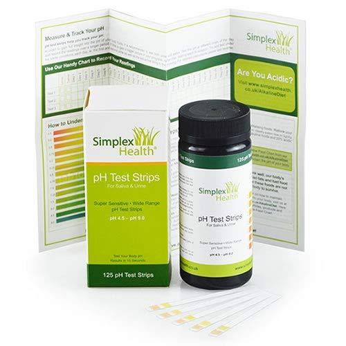 SimplexHealth PH-Teststreifen 4,5-9,0 Urin & Speichel Acid Alkaline pH Testen (125 Streifen) besser als Lackmus-Papier