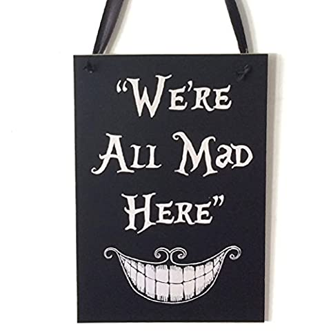 OULII Halloween Hanging Bienvenue Signe Trick or Treat Plaque en bois Board for Haunted House - We're All Mad Here