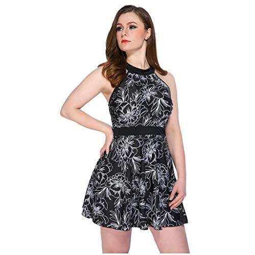 Plus Fat Frauen-Badeanzug Tummy Control Dress Coverage Female Large Split Skirt Typ Extra große Länge Langen Bauch bedeckt Slim Swimsuit-064 (Color : Black, Size : 4XL)