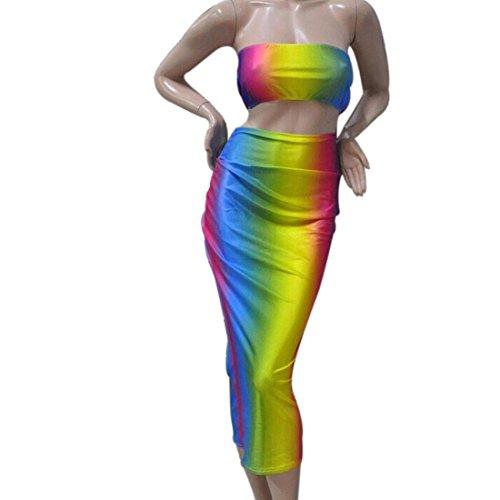 QIYUN.Z Belle Arc Douce Sexy Nouvelles Femmes De La Mode De L'epaule En Deux Pieces Robe Bandage Combinaisons couleurs de l'arc