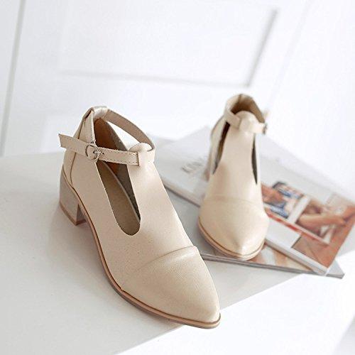 ZHZNVX Mode Damenschuhe Neu Spitz Rau mit Flachen Ton Qualität Mode Schuhe Sandalen, Beige, 43 Stiletto Gold-ton Strap
