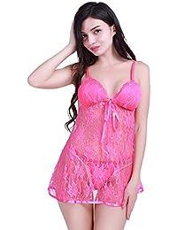 Camisón Pijamas Picardías de Noche para Mujer Conjunto de Lencería Encaje Babydoll con Tanga Braguita