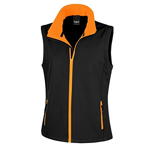 Result Core Damen Softshell-Weste, bedruckbar (XL) (Schwarz/Orange) (Weste Xl Damen)
