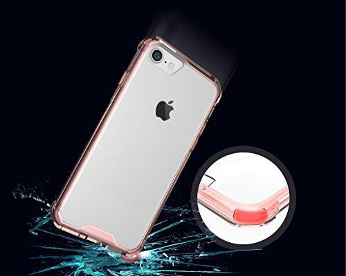 iPhone 7 Hülle,Mo-Beauty® Transparent Handyhülle [Rosa] Soft Flex Crystal Clear Silikon Durchsichtig Schlanke Hülle [Luftpolster-Technologie] Durchsichtige Rückschale und TPU-Bumper Case Cover Schutzh Rosa
