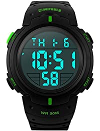 TTLIFE Reloj de pulsera digital unisexo de moda con dial grande Reloj Deportivo de Silicona Correa Impermeable(verde)
