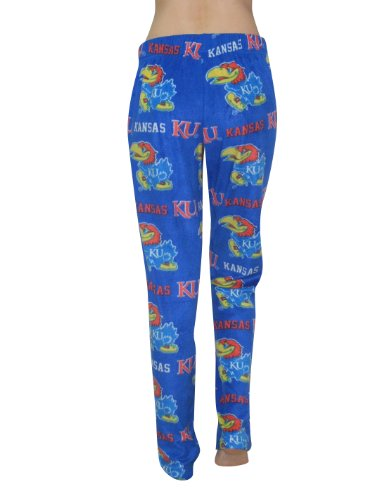NCAA Kansas Jayhawks Femme Polar Fleece Sleepwear / Pajama Pants Bleu