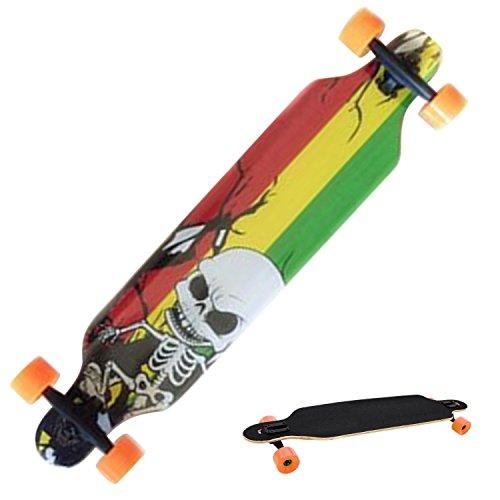 mymotto cLongboard Anfänger Erwachsene Kinder Ahorn Skateboard (106 x 26 x 14 cm) Drop Down Street, Rot Skelett -