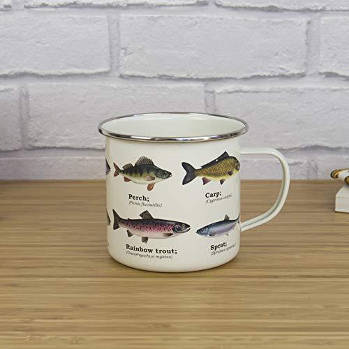 es Fish Kaffeebecher emailliert mit Fisch-Motiven ()