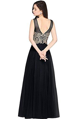 Robe Femme de Soirée Elégante avec Appliques en Ligne A Longue Maxi avec Dentelle Florale en Tulle par MisShow Noir