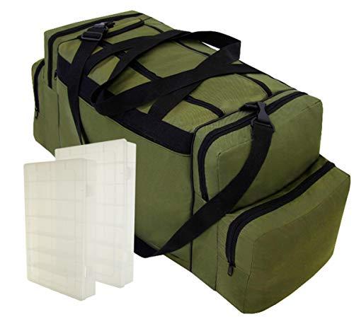 Ferocity Specialist Angeltasche für Zubehör mit inkl. 2 Kunststoff-Boxen Angelboxen Gerätetasche Ködertasche Tasche für Angelköder Khaki [023]