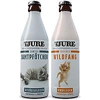 TJURE - Flüssigfleischnahrung Zartes Samtpfötchen&Frecher Wildfang Mixpaket | Flüssiges Katzenfutter in Lebensmittelqualität