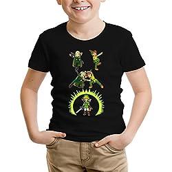 OKIWOKI T-Shirt Enfant Noir Zelda et Seigneur des Anneaux parodique Link, Peter Pan et Legolas l'elfe : Le Seigneur de la Fusion. (Parodie Zelda et Seigneur des Anneaux)