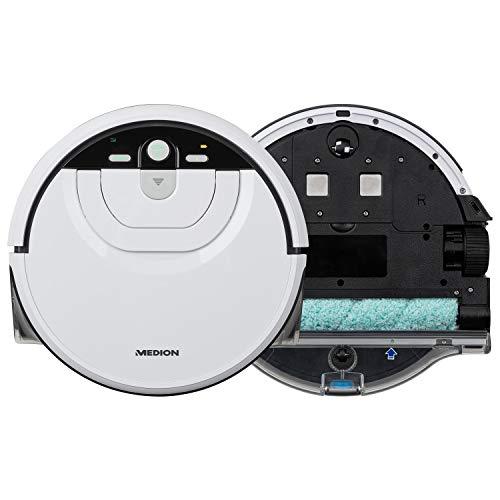 MEDION Wischroboter mit intelligenter Navigation (80 Min Laufzeit, vollautomatische Nassreinigung, 0,8 l Wasserbehälter, MD 18379) weiß