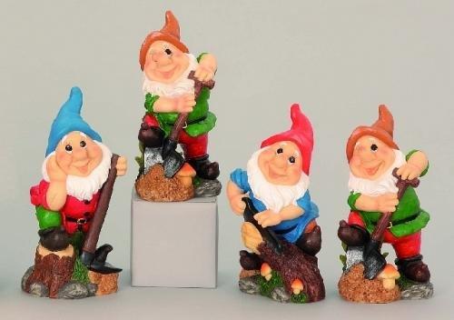 4 Gartenzwerg Figuren 27cm Gnome Zwerg