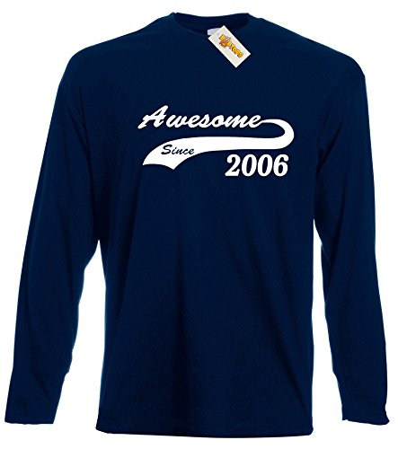 awesome-since-11th-long-sleeve-t-shirt-for-11-year-old-boys-by-loltops-12-13-years-deep-navy