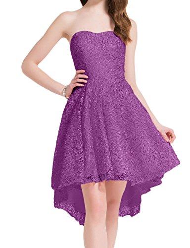 La_Marie Braut Rosa Elegant Spitze Hi-lo Lang Cocktailkleider Promkleider Heimkehr Tanzenkleider A-linie Rock Violett