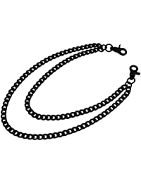 Metal Mens Wallet Chains Wc-302-B/B Black Double Curb Link Wallet/Jeans Chain 20.5 X 0.75 X 0.75 Inches Black