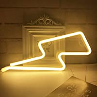 QiaoFei Neon Light,LED Lightning Sign Shaped Decor Light,Wall Decor for Chistmas,Birthday party,Kids Room, Living Room, Wedding Party Decor (Warm White)
