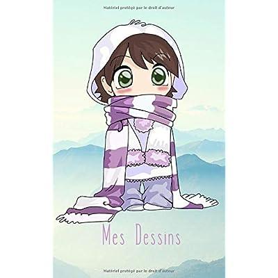 Mes Dessins: 100 pages de papier vierge - Journal d'artiste / Journal créatif / Bloc à dessin / Bloc-notes / Enfant mignon dans la neige - Manga / Anime