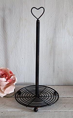 Küchenrollenständer Landhaus Ornament Metall schwarz Shabby Chic -- IT -- Papiertuchständer