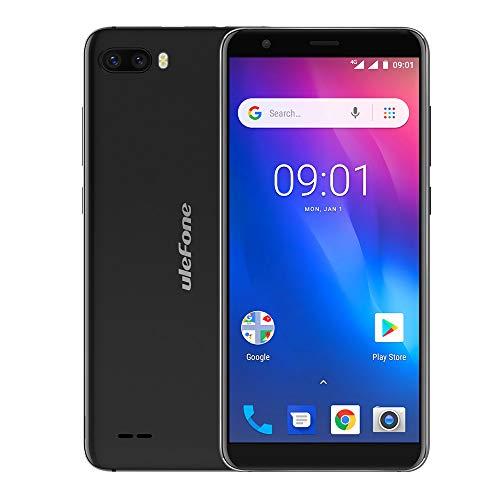 Fulltime E-Gadget Handy 5,5 Zoll 18: 9 MTK6739 Quad Core RAM 1GB + ROM 16GB 13MP + 5MP Gesicht Entsperren Android 8.1 4G Dual-SIM Smartphone (Schwarz)