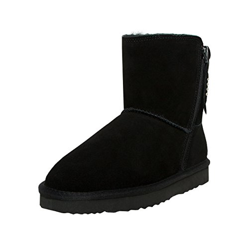LOCO GERMANY SKUTARI - Wildleder Damen Frauen Winter-Boots | Extra Weich & Warm Gefüttert | Schlupf-Stiefel mit Stabiler Sohle | Pailletten Glitzer Meliert Zipper (Frauen-boot Beige)