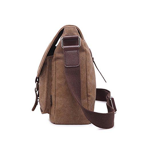 Butterme Sacchetto di spalla del messaggero della cartella degli uomini del sacchetto di spalla del computer portatile della tela di canapa dellannata Caffè