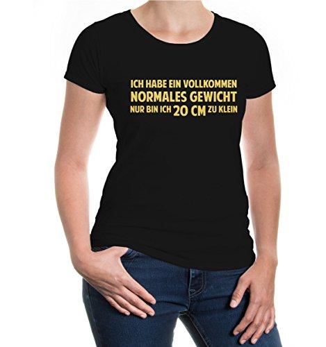 Girlie T-Shirt Ich habe ein vollkommen normales Gewicht-XXL-Black-Gold (Maillot Abnehmen)