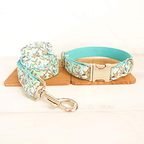 eHundehalsband Türkis Blume Haustierhalsband Haustierhalsband und Gürtel Set Quick Release Nylon Halskette ()