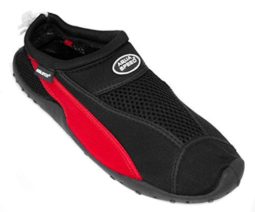 AQUA-SPEED Scarpe Di Acqua Per Spiaggia - Mare - Lago - Pantofole Ideale Come Protezione Per I Piedi - #As11 Nero/Rosso