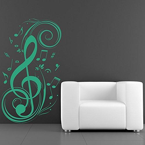Azutura chiave di violino adesivo murale note musicali adesivo da parete camera da letto di musica home decor disponibile in 5 dimensioni e 25 colori piccolo nero