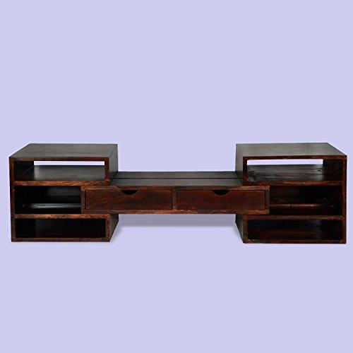 Ausziehbar massivholz Lowboard ROUGE | Massiv kommode fernsehtisch Tv board | Boho chic Modern-Stil | 116 x 50 x 45 | Design sideboard für wohnzimmer flur und diele