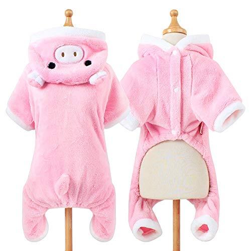 Schweinchen Für Kostüm Hunde - STKJ Hundestrickjacke, rosa Schwein-Welpen-Kleidung Hoodie-Warmer Mantel für Winter-warme Nette kleine Kleidung für Hund,M