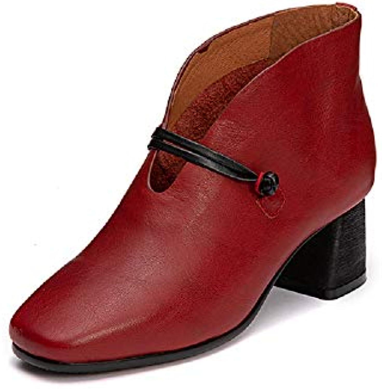 Gaslinyuan Stivali in Pelle da Donna Block Slip on Buckle Elegant scarpe (Coloreee   Rosso, Dimensione   EU 37) | Materiali Di Prima Scelta  | Uomini/Donne Scarpa