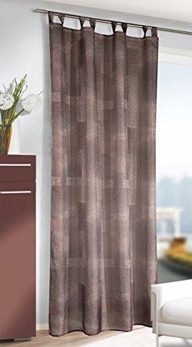 """SALE - Bezaubernde Gardine Dekoschal Schlaufenschal mit Gardinenband """" WONDERFUL SPLASH OF COLOURS """" - wundervolle Optik - luftig und leicht - Fertiggardine - Größe 135 cm x 245 cm - ein BLICKFANG in Ihrem Wohnbereich - aus dem KAMACA-SHOP (BRAUN / SCHWARZ)"""