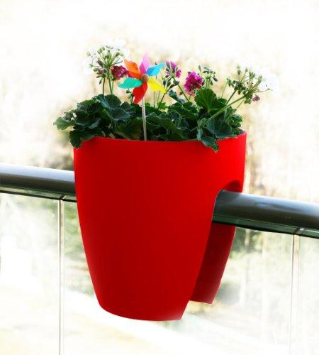 GREENBO Planter Blumentopf für Geländer bis 10cm, 29x 30cm 29x29x30 cm rot -