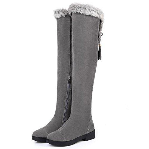 TAOFFEN Damen Winter Warm Schneestiefel Flache Langschaft Stiefel Mit Reißverschluss Grau