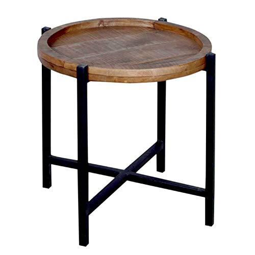 h Wohnzimmer-Tisch rund Omaha, Metall-Gestell Altsilber oder schwarz Farbe braun - Bassano ()