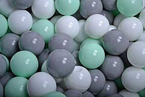 Amazinggirl Bälle für Bällebad Plastikbälle Spielbälle für Kinder Baby im Set 100 weiß grau Mint Plastikkugeln Kinderball Ø 7 cm CE  -