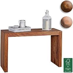 Wohnling mesa consola Madera Maciza Diseño consola escritorio 115x 40cm rústico estilo de trabajo de mesa Madera Natural Modern, madera, Sheesham, 115 x 75 x 40 cm