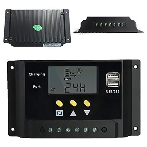 Signstek Contrôleur de Charge USB, 12V/24V 240W/480W 30A PWM LCD, Régulateur de Panneau Solaire, Contrôleur Numérique