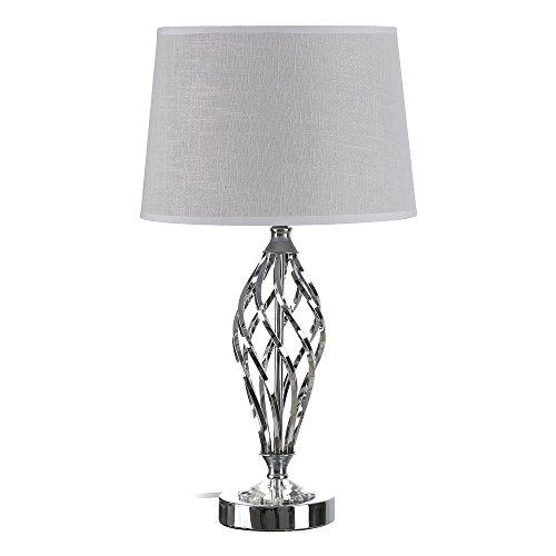 Lámpara de sobremesa de Metal Plateada Vintage para salón Bretaña - LOLAhome