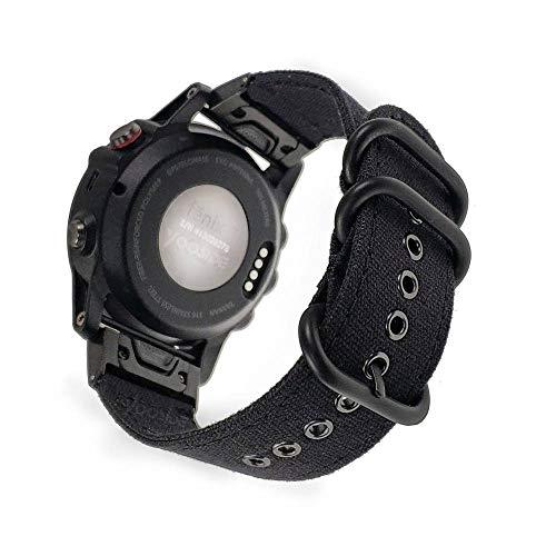 YOOSIDE Fenix 5X Uhrenarmband, 26 mm, langlebiges Canvas, Ersatz-Uhrenarmband für Garmin Fenix 3/Fenix 3 HR/Fenix 5X/5X Plus/Quatix 3/Tactix Bravo, Schwarz -