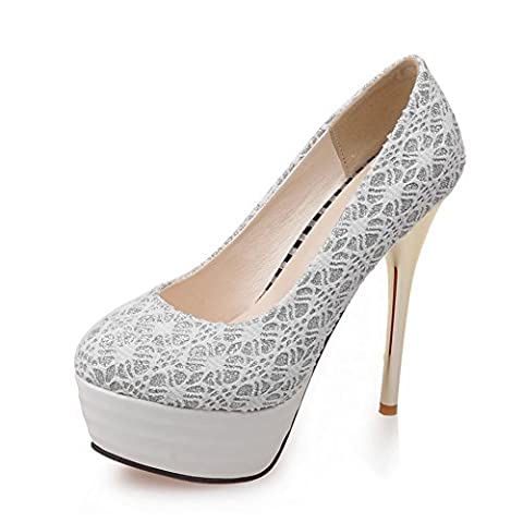 AdeeSu Womens Pull-On Spikes Stilettos Platform White Urethane Pumps-Shoes - 5.5 UK