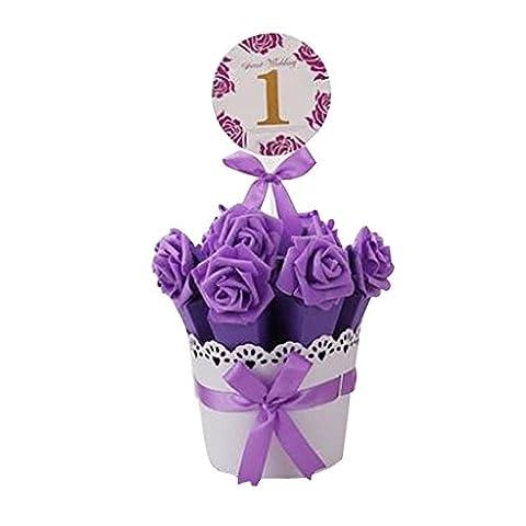 Décoratif Bonbonnière de soirée de mariage Favor Gift Box, Coffre Violet Foncé + Fleur Pourpre