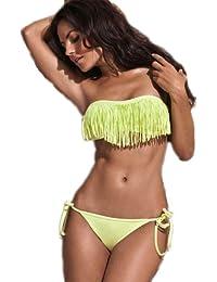 Demarkt Sexy Maillots de Bain/Swimwear 2 Pièces Bustier Rembourrée -Bikini à Frange Pour les Femmes avec Couleur Jaune/Taille S/M/L