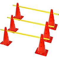 Rhinos Sports ranuras Juego de vallas, 6multifunción Cono (38cm) con 3barras de entrenamiento (1m)