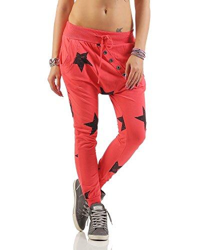 ZARMEXX Boyfriend Big Star con bottoni pantaloni pantaloni della tuta fitness (Taglia unica, 40-46) Salmone